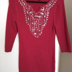 Lauren Michelle red Metallic and Sequence Sweater